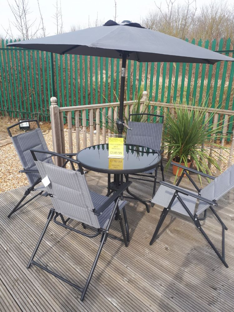 Kingfisher 4 seater Grey Padded Striped Garden Furniture Set